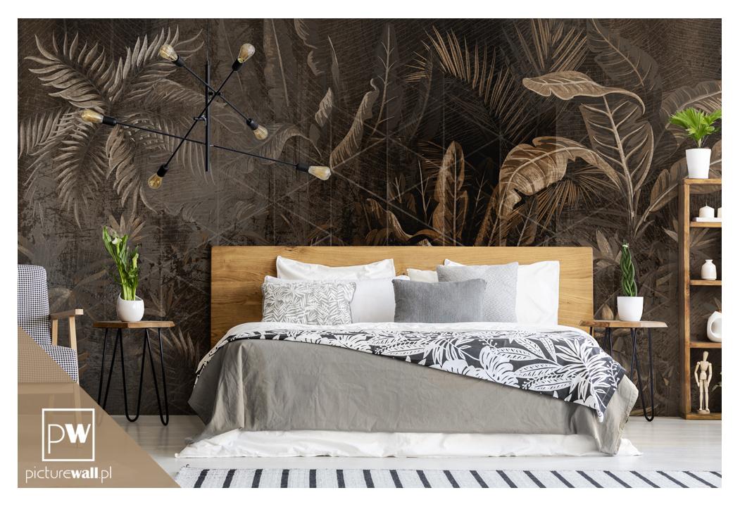Sypialnia z fototapetą Palmowy zakątek