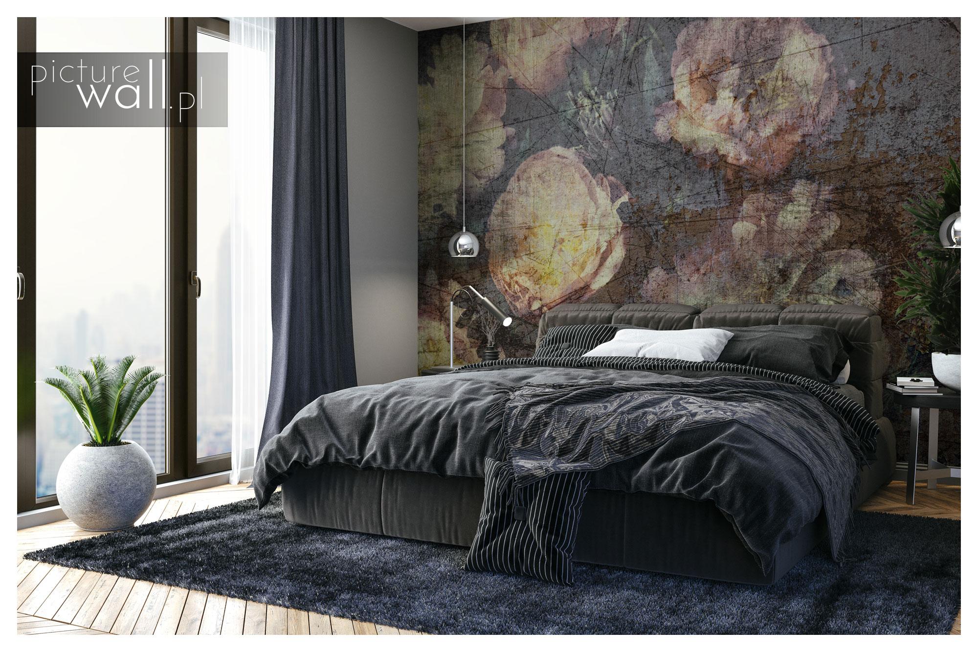 Sypialnia z fototapetą autorską Rustykalny Bukiet