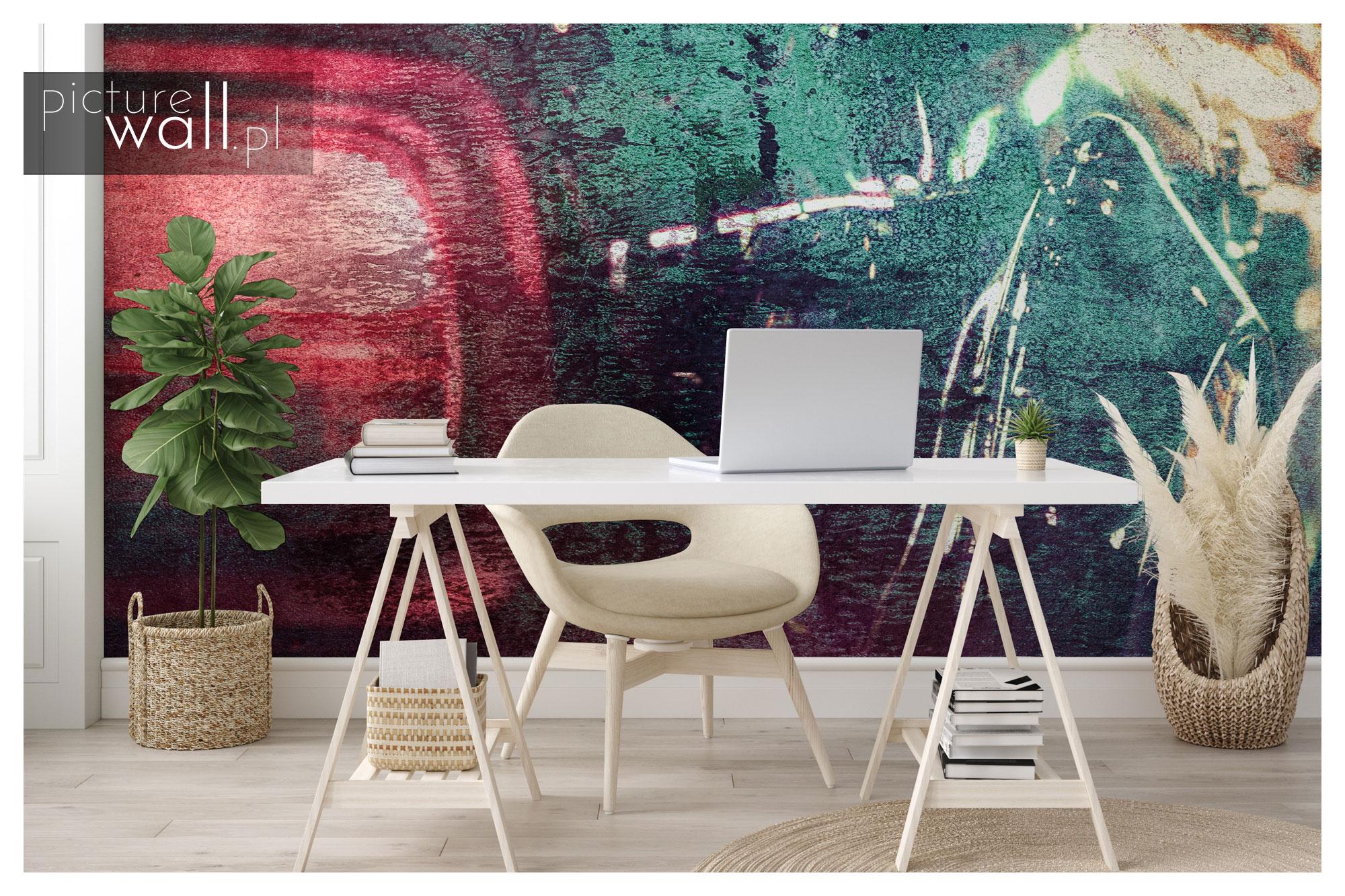 Fototapeta autorska Neonowe Grafffiti w home office
