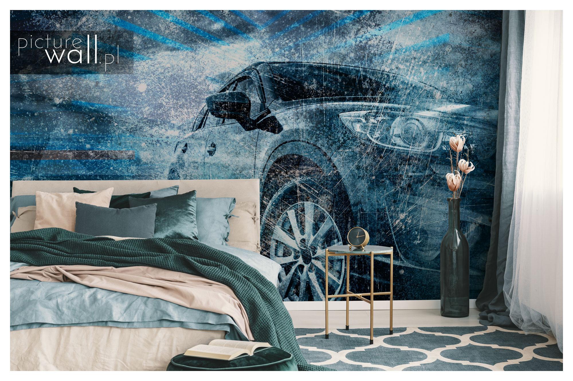 Sypialnia z fototapetą autorską Hybryda