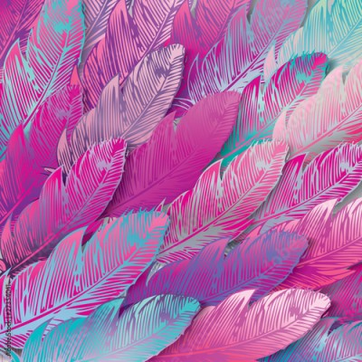 Fototapeta Seamless background of iridescent pink feathers, close up