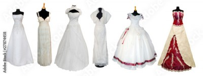 Fototapeta Collection of various types of wedding dresses