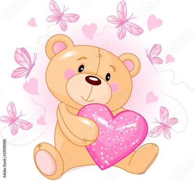 Fototapeta Teddy Bear with love heart