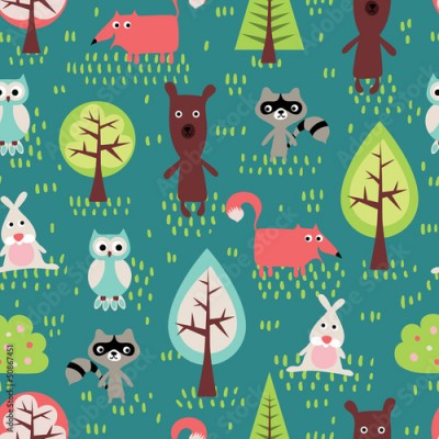 Fototapeta Cute animals seamless pattern