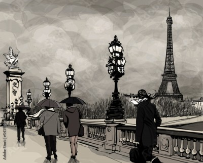Fototapeta Drawing of Alexander III bridge in Paris showing Eiffel tower