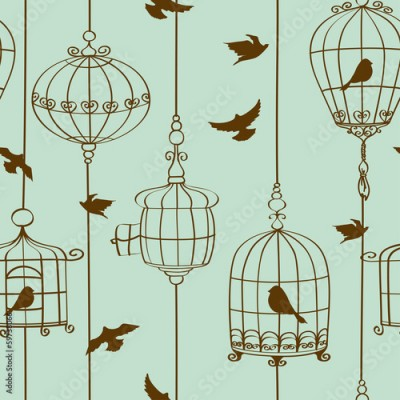 Fototapeta Seamless pattern of birds and cages