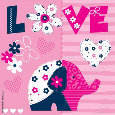 Fototapeta cute patchwork elephant pattern vector illustration