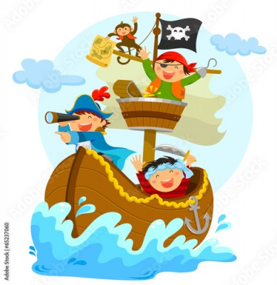 Naklejka happy pirates sailing in their ship