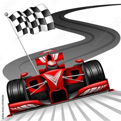Fototapeta Formula 1 Red Car on Race Track