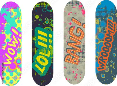 Naklejka Vector skateboard design pack with cartoon style effects