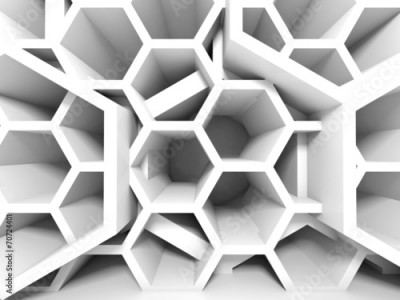 Fototapeta Abstract white honeycomb structure. 3d render background