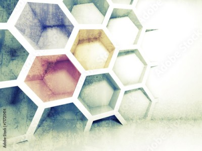 Fototapeta Abstract colorful 3d interior with honeycomb on the wall