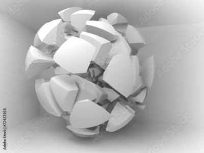 Fototapeta Abstract 3d background with white fragments of big sphere