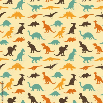 Fototapeta vector set silhouettes of dinosaur, retro pattern background