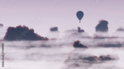 Fototapeta Aerial of hot air balloon flying over autumn mountain landscape