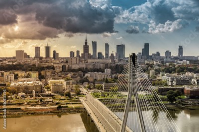 Naklejka City of Warsaw skyline behind the bridge, Poland