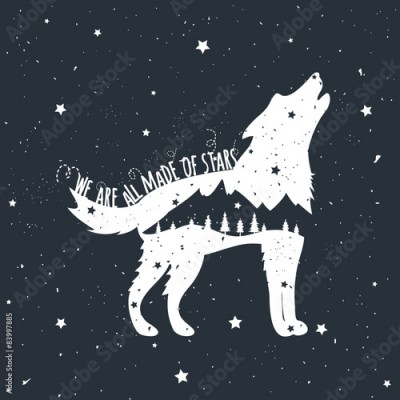 Fototapeta Vector illustration with howling wolf, mountains and trees