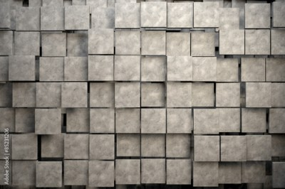 Fototapeta Field of brown square plates with stone texture. 3d render image
