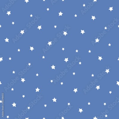 Fototapeta Seamless pattern with stars on blue background. Night sky nature illustration. Cute baby shower background.