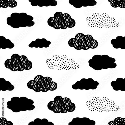 Naklejka Black and white seamless pattern with clouds. Cute baby shower vector background. Child drawing style illustration.