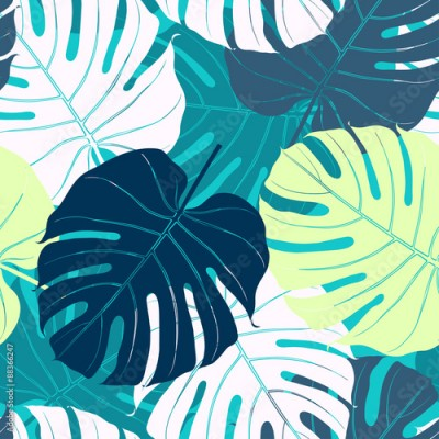 Fototapeta Seamless pattern with palm leaves.