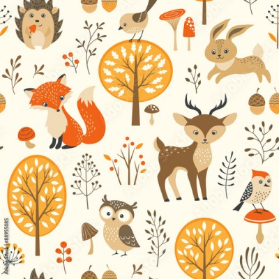 Naklejka Autumn forest seamless pattern with cute animals