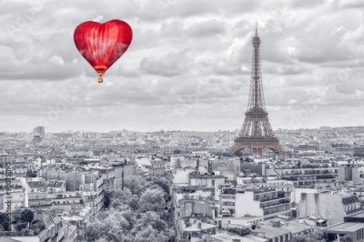 Naklejka Balloon in the form of heart over Paris