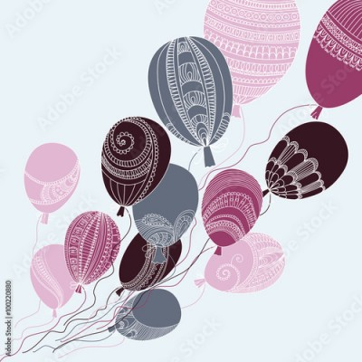 Fototapeta Illustration with colorful flying balloons