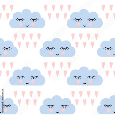 Naklejka Clouds pattern. Seamless pattern with smiling sleeping clouds and hearts for kids holidays. Cute baby shower vector background. Child drawing style rainy clouds in love vector illustration.