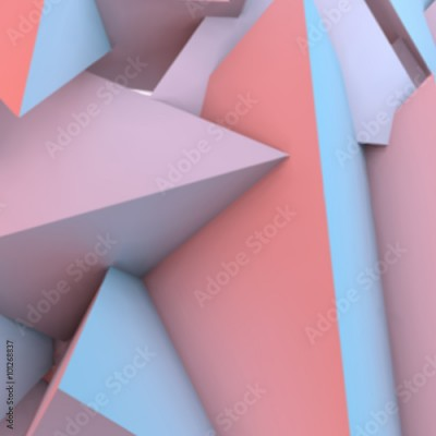 Fototapeta Abstract background with rose quartz and serenity pyramids