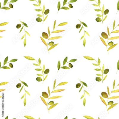 Fototapeta watercolor seamless pattern with olives, leaves and branches