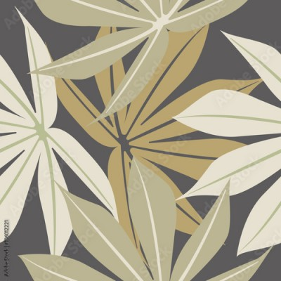 Fototapeta Stylish seamless pattern with tropical leaves