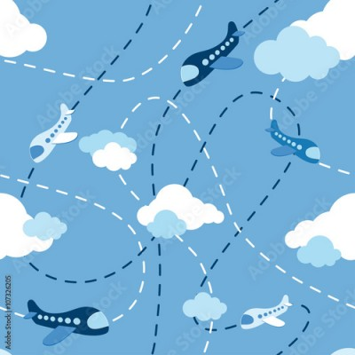 Fototapeta Seamless airplane pattern