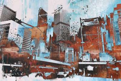 Fototapeta skyscraper with abstract grunge,illustration painting