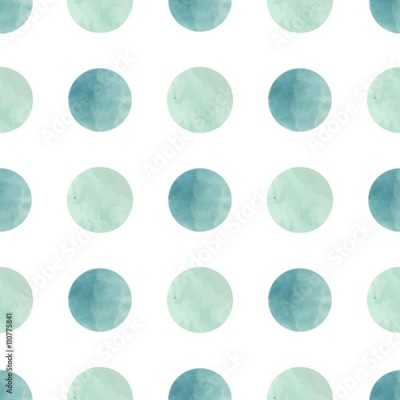 Naklejka Watercolor texture. Seamless pattern. Watercolor circles in pastel colors on white background. Pastel colors and romantic delicate design. Polka Dot Pattern. Fresh and Mint Colors.