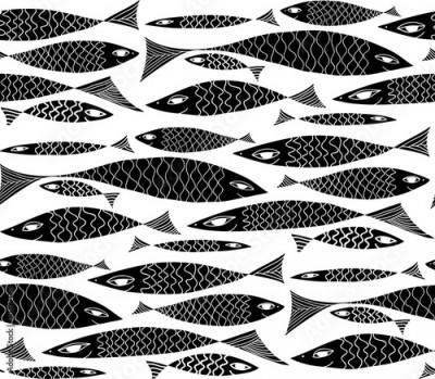Naklejka Vector underwater black and white pattern.