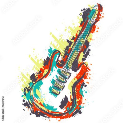 Naklejka Electric guitar. Hand drawn grunge style art. Retro banner, card, t-shirt, bag, print, poster.Vintage colorful hand drawn vector illustration