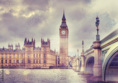 Naklejka Big Ben and Houses of Parliament, vanilla vintage effect image