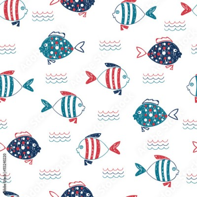 Fototapeta Cute doodle fish seamless pattern. Vector marine background in blue, red and white colors. Hand drawn fish and waves isolated on white.