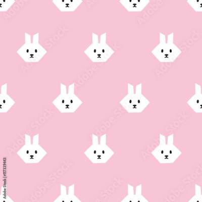 Fototapeta seamless rabbit geometric pattern
