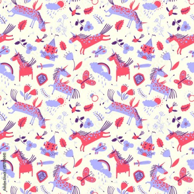 Naklejka Vector cute floral seamless pattern with magic unicorns