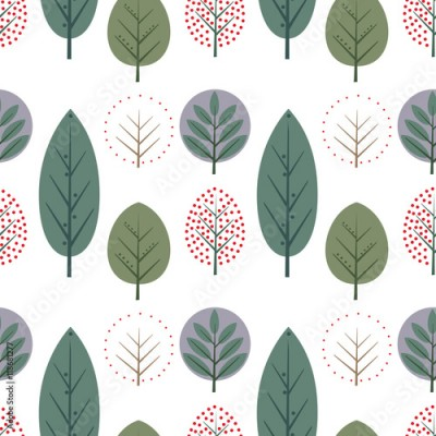 Naklejka Decorative leaves seamless pattern. Cute nature background with trees. Scandinavian style forest vector illustration. Design for textile, wallpaper, fabric.