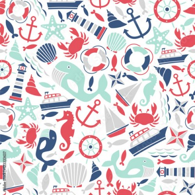 Naklejka seamless pattern with sea icons