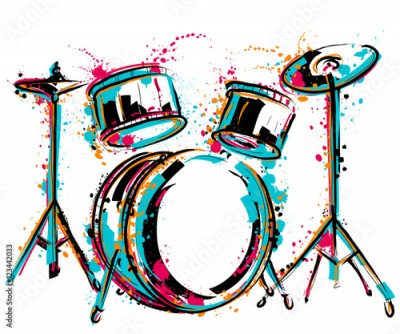 Naklejka Drum kit with splashes in watercolor style. Colorful hand drawn vector illustration