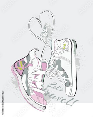 Fototapeta Pair of sneakers with laces in the form of heart. Hand drawn vector illustration.