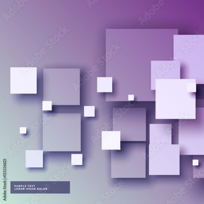 Fototapeta purple background with 3d squared in different sizes
