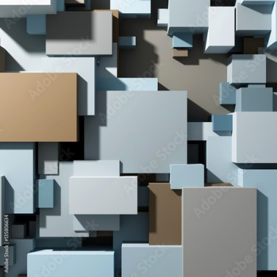 Fototapeta Cubes of different sizes top view