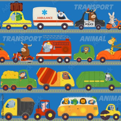 Fototapeta seamless pattern transports with animals on road - vector illustration, eps