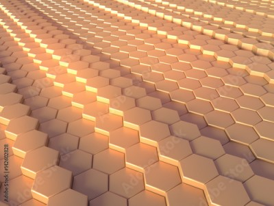 Fototapeta Abstract gold hexagon pattern background 3d rendering
