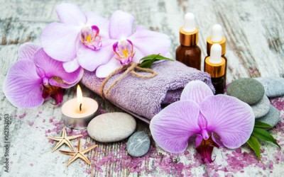 Fototapeta Spa products with orchids